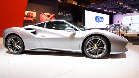 gt : Ferrari 488 GTB mid engined twin-turbocharged V8 sports car on display at the 2018 European motor show in Brussels. Stock Footage