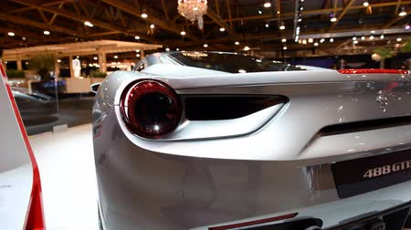 berlinetta : Ferrari 488 GTB mid engined twin-turbocharged V8 sports car on display at the 2018 European motor show in Brussels. Stock Footage