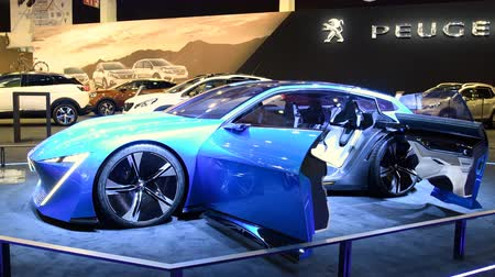 self driving : Peugeot Instinct concept car self-driving vehicle with responsive i-Cockpit on display at the 2018 European motor show in Brussels. Stock Footage