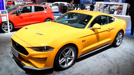 gt : Ford Mustang performance car on display at the 2018 European motor show in Brussels. Stock Footage