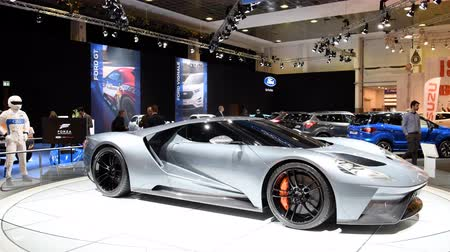 gt : Ford GT Supercar performance car on display at the 2018 European motor show in Brussels. Stock Footage