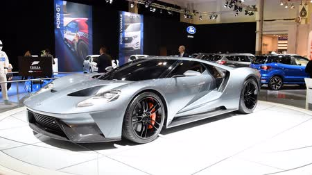 tourer : Ford GT Supercar performance car on display at the 2018 European motor show in Brussels. Stock Footage