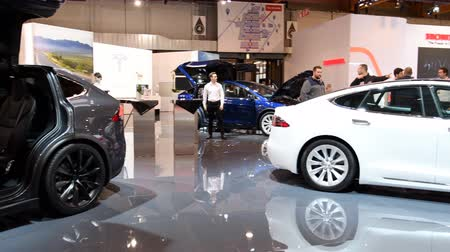 tesla model s : Tesla Model X crossover SUV and Model S liftback all-electric luxury cars during the 2018 European Motor Show Brussels.