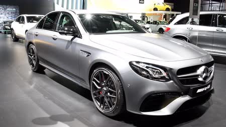 kiállítási terem : Mercedes-AMG E 63 S high performance luxury sedan car on display during the 2018 European Motor Show Brussels.