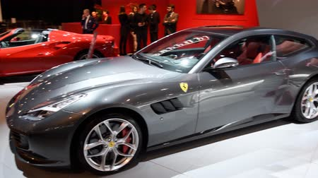 gt : Ferrari 488 Spider, Ferrari GTC4Lusso, Ferrari Portofino, Ferrari 812 Superfast sports cars on display at the 2018 European motor show in Brussels.