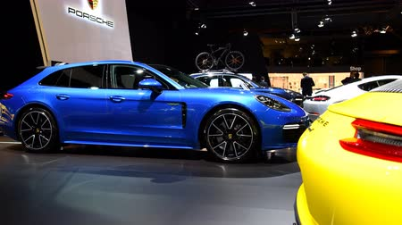 gt : Porsche Panamera 4 E-Hybrid Sport Turismo 5-door, shooting-brake estate luxury performance car on display at the 2018 European motor show in Brussels.