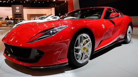 tourer : Ferrari 812 Superfast sports car on display at the 2018 European motor show in Brussels.