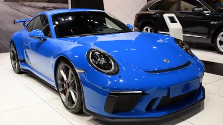 turbo : Porsche 911 GT3 high-performance sports car based on the 911 on display at the 2018 European motor show in Brussels.