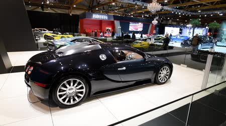 gt : Bugatti Veyron mid-engined W16 engine exclusive hypercar on display at the 2018 European motor show in Brussels.