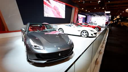lusso : Ferrari 4GTC Lusso and Ferrari Portofino grand touring two-door 2+2 hard top convertible sports car on display at the 2018 European motor show in Brussels.