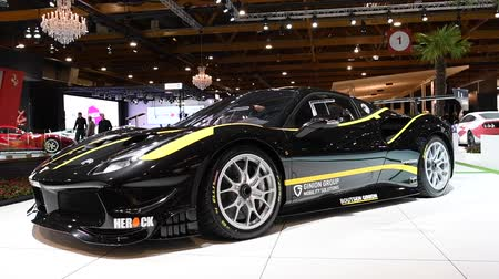 tourer : Ferrari 488 GTB GT race car car on display at the 2018 European motor show in Brussels.