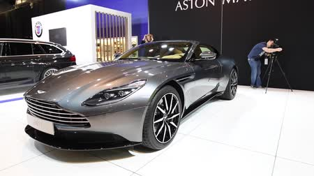 gt : Aston Martin DB11 Coupe exclusive Grand Tourer sports car on display at the 2018 European motor show in Brussels.