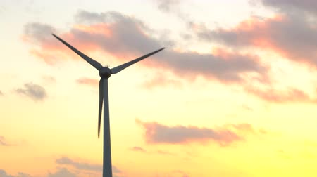 углерод : Wind turbine with turning blades in the wind in an offshore windpark during sunset.