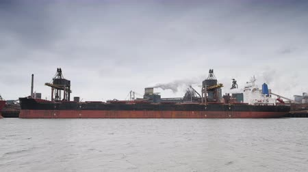 ancorado : Coal cargo ship unloading at the coal terminal at a steel mill. Stock Footage