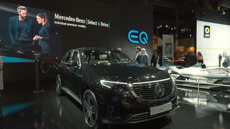 kompakt : BRUSSELS, BELGIUM - JANUARY 9, 2020: Mercedes-Benz EQC (N293) full electric compact luxury SUV car on display at Brussels Expo