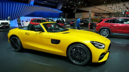 gt : BRUSSELS, BELGIUM - JANUARY 9, 2020: Mercedes-AMG GT Roadster open convertible sports car on display at Brussels Expo
