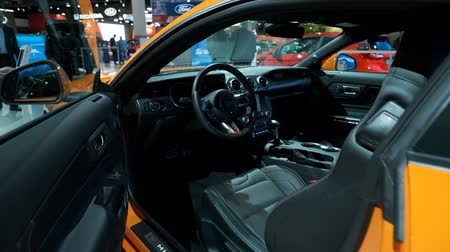 melez : BRUSSELS, BELGIUM - JANUARY 9: Ford Mustang 5.0 V8 sports car interior on display at Brussels Expo