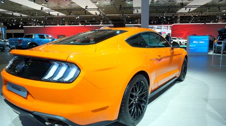 durum : BRUSSELS, BELGIUM - JANUARY 9, 2020: Ford Mustang 5.0 V8 sports car on display at Brussels Expo