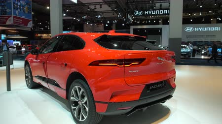 bruxelas : BRUSSELS, BELGIUM - JANUARY 9, 2020: Jaguar I-Pace (I-PACE) battery-electric crossover SUV on display at Brussels Expo