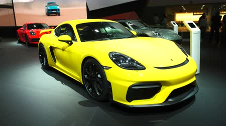 bélgica : BRUSSELS, BELGIUM - JANUARY 9, 2020: Porsche 718 Cayman GT4 sports car on display at Brussels Expo