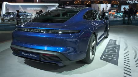 melez : BRUSSELS, BELGIUM - JANUARY 9, 2020: Porsche Taycan Turbo all-electric luxury performance car on display at Brussels Expo