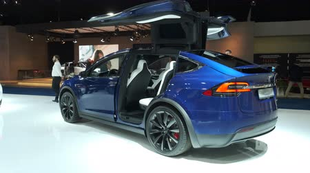 tesla car : BRUSSELS, BELGIUM - JANUARY 9, 2020: Tesla Model X 90D full electric luxury crossover SUV car on display at Brussels Expo