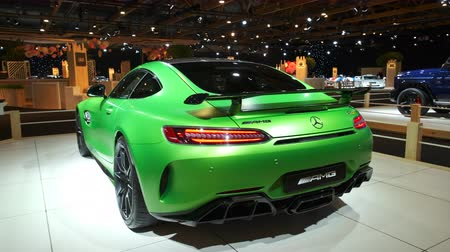 gt : BRUSSELS, BELGIUM - JANUARY 8, 2020: Mercedes-AMG GT R Coupé sports car on display at Brussels Expo. Rear view shot.