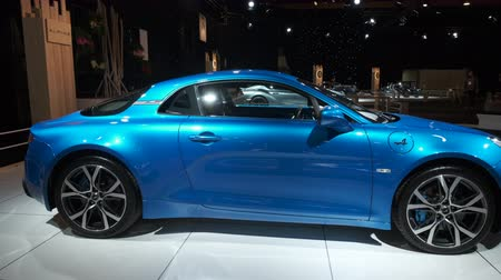 bruxelas : BRUSSELS, BELGIUM - JANUARY 8, 2020: Alpine A110 sports car on display at Brussels Expo