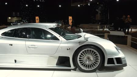 gt : BRUSSELS, BELGIUM - JANUARY 8, 2020: Mercedes-Benz CLK GTR hypercar on display at Brussels Expo