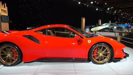belgie : BRUSSELS, BELGIUM - JANUARY 8, 2020: Ferrari 488 Pista sports car on display at Brussels Expo
