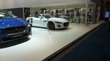 melez : BRUSSELS, BELGIUM - JANUARY 9, 2020:Walkby the Jaguar motor show stand with the Jaguar I-Type 3 race car, Jaguar I-Pace and Jaguar F-Type Convertible sports car.