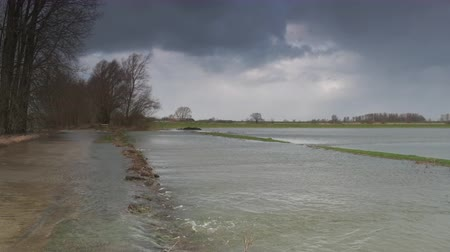 powódź : Water running over the floodplains of the river IJssel during flooding caused by high water levels in the river in Overijssel The Netherlands Wideo