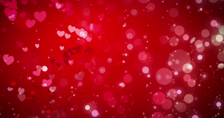 светящийся : Red hearts and confetti texture. Happy Valentines day background. Loop 4k Стоковые видеозаписи