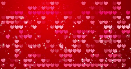 Red hearts and confetti texture. Happy Valentines day background. Loop 4k Stok Video