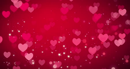 luty : Red hearts and confetti texture. Happy Valentines day background. Loop 4k Wideo