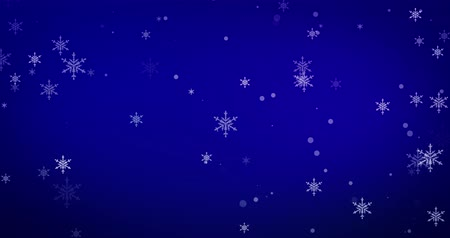 Confetti, snowflakes and bokeh lights on the blue Merry Christmas background.