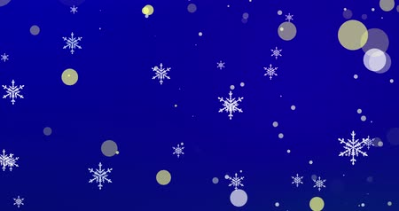 sniezynka : Golden confetti, snowflakes and bokeh lights on the blue Christmas background. Wideo