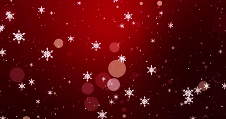 Golden confetti, snowflakes and bokeh lights on the red Merry Christmas background.