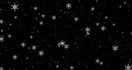 Golden, snowflakes and bokeh lights on the black Merry Christmas background.