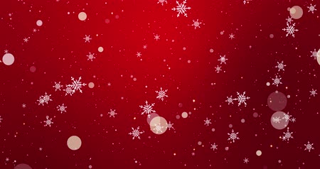 Winter confetti, snowflakes and bokeh lights on the red Merry Christmas background. 3D rendering loop 4k Stok Video