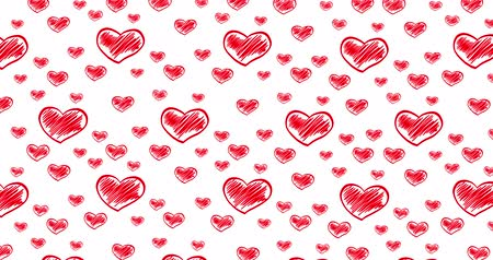 čmáranice : Romantic hand drawn pattern with doodle red hearts. For St. Valentines Day, Mothers Day, wedding anniversary. Wedding invitation e-card. 3D rendering animation. Seamless loop 4k video. Dostupné videozáznamy