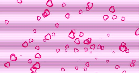 čmáranice : Romantic pink pattern with doodle red hearts. For St. Valentines Day, Mothers Day, wedding anniversary. Wedding invitation e-card. 3D rendering animation. Seamless loop 4k video. Dostupné videozáznamy