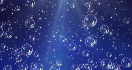 Romantic pattern with bubbles on blue background. 3D rendering animation. Seamless loop 4k video.