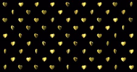Happy Valentines Day background with glowing golden hearts pattern. For Valentines Day event. Loop animation 4k