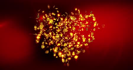 Happy Valentines Day background with glitter falling confetti and glowing golden heart. For event. Loop 4k