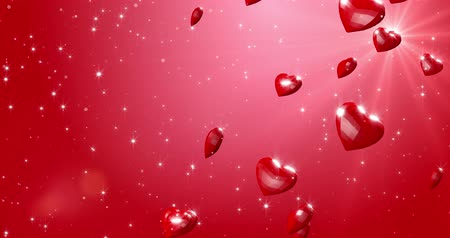 Romantic red polygonal hearts with ray of light. Valentines Day. event background. 3D rendering loopable animation 4k