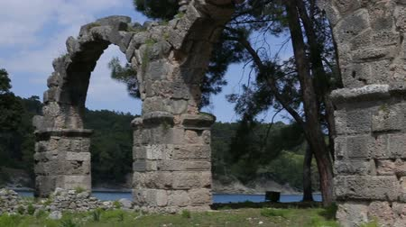 phaselis : Ancient stone arch in the mountains Stock Footage