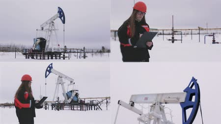 requiring : Female engineer and oil man working together in an oilfield, teamwork. Multiscreen footage.