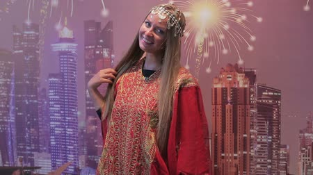 Beautiful European woman in national dress Arab women
