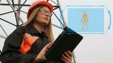 requiring : Woman engineer. A woman in a hard hat working in the energy producing industry, power lines. Animation. Digital display